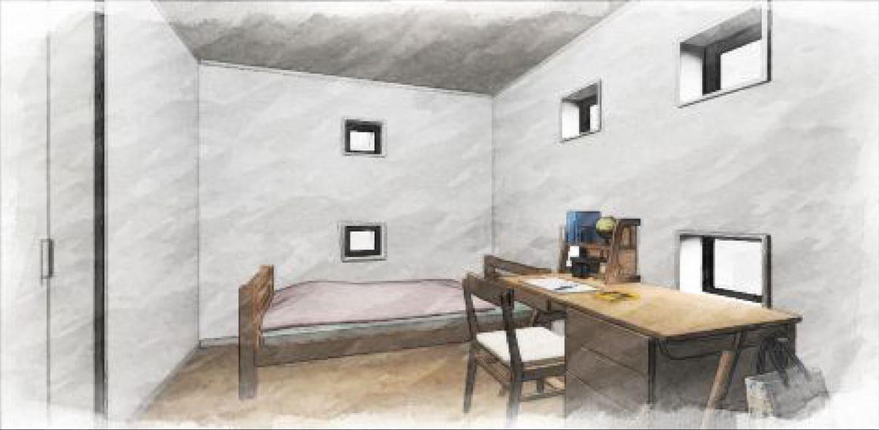 Z-4_2F『洋室』 (四角い小窓が遊び心ある子供部屋。 二部屋にそれぞれクローゼットがあります。)