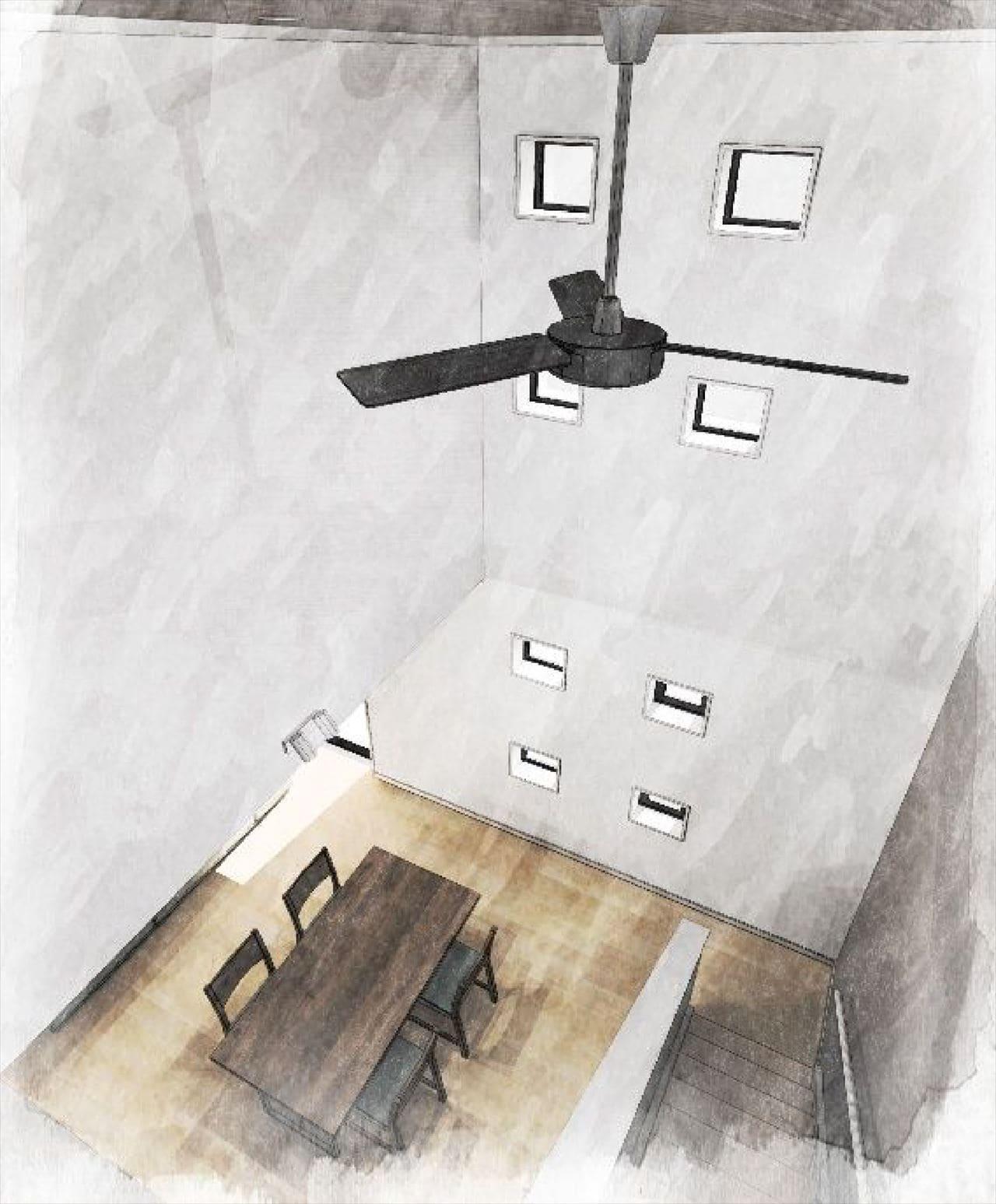 Z-4_2F『開放的な吹き抜け階段』 (自然光を取り込む 大きな吹抜けを計画。 シーリングファンを回して 空気を循環させることで、 1・2階の温度差を均一にできます。)