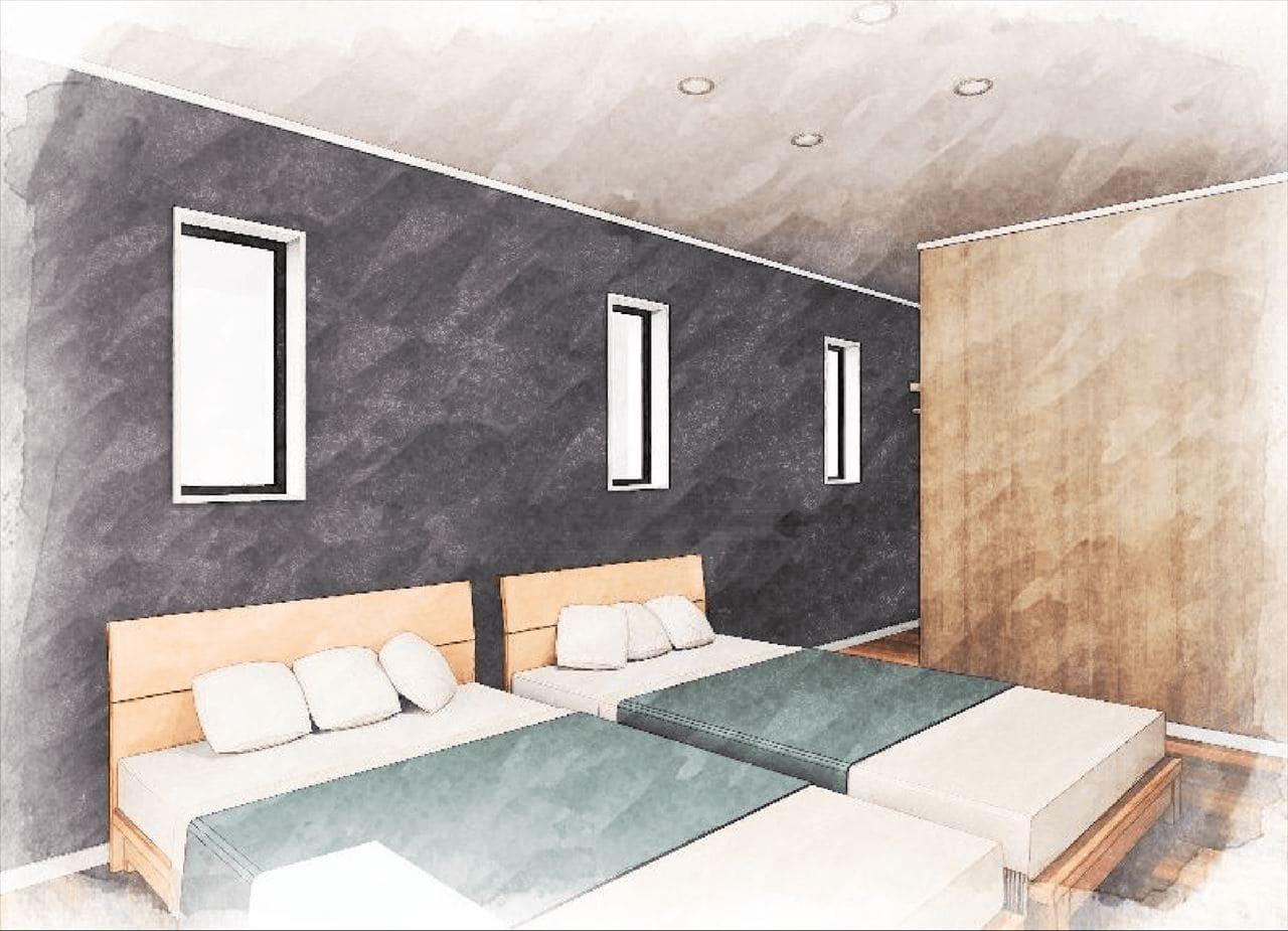 『寝室』 (南向きのバルコニーがあり、 壁の向こうにウォークインクローゼットがある)