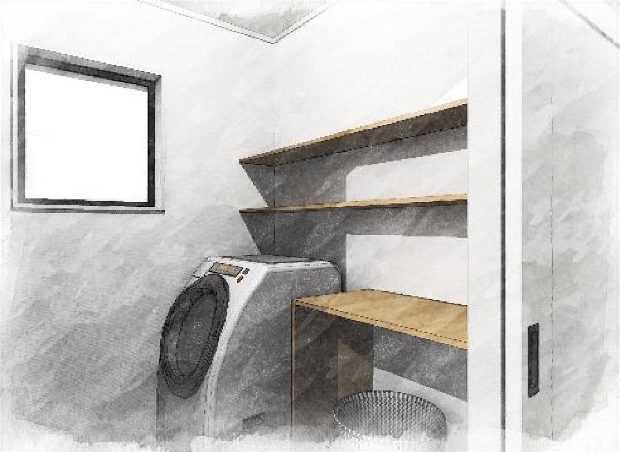 『脱衣室』 (洗濯機コーナー、 収納棚)