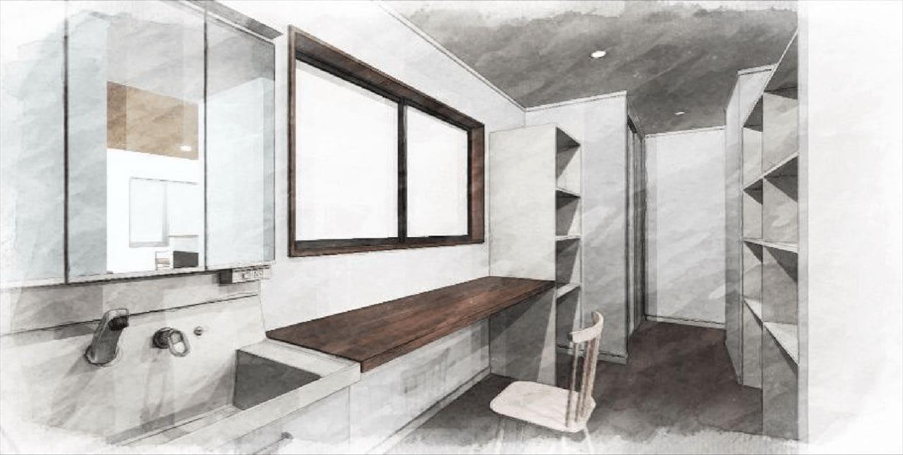 Z-3『ウォークスルーパウダールーム』(リビング側、寝室側からも通り抜けできる 洗面コーナー。 収納もここでひとまとめにできて 家事効率もアップ。)