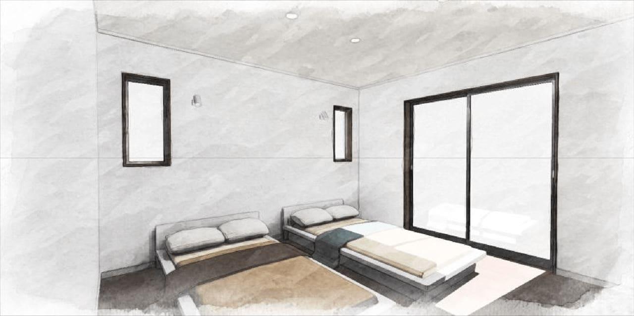 Z-3『寝室』 (日当たりの良い寝室。 掃き出し窓からデッキに出れる。)