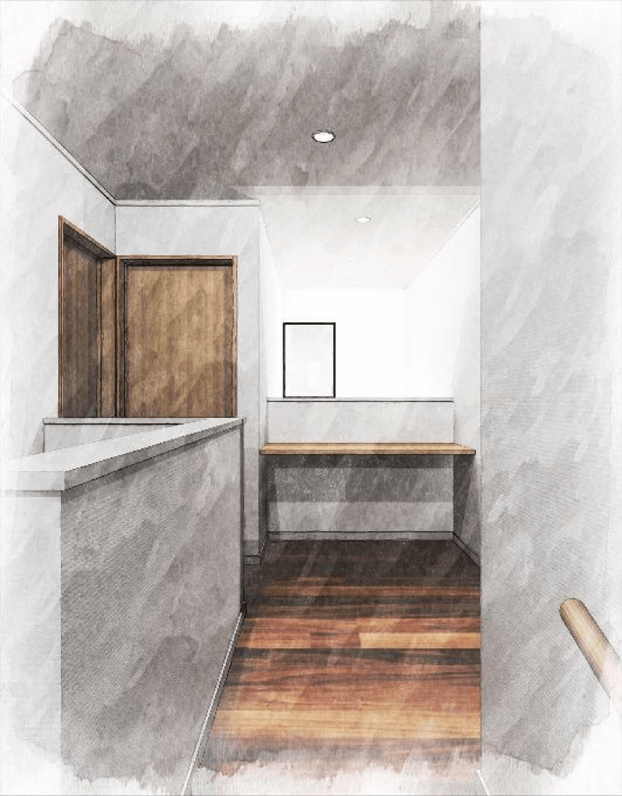 『階段ホール』 (2階ホールのデスクコーナー。 吹き抜けをを介してリビングと繋がる)